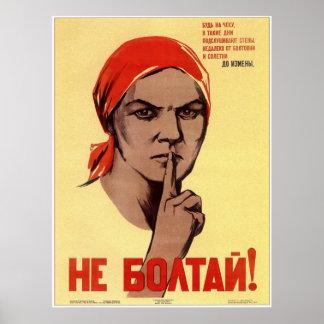 ¡URSS Unión Soviética no cotillea! Propaganda 1941 Póster