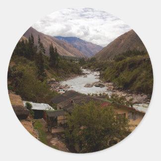 Urubamba River Valley sagrado Cusco Perú Pegatina Redonda