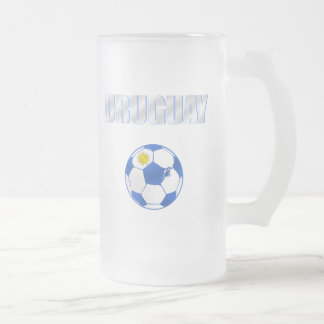 Uruguay cool ball futbol fans La Celeste love Frosted Glass Beer Mug