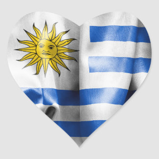 Uruguay Flag Heart Shaped Sticker