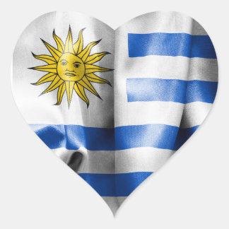 Uruguay Flag Heart Shaped Sticker