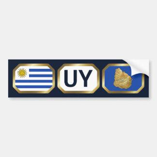 Uruguay Flag Map Code Bumper Sticker Car Bumper Sticker