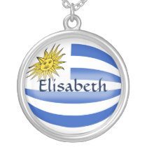 Uruguay Flag   Name Necklace
