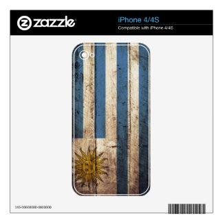 Uruguay Flag on Old Wood Grain iPhone 4S Skins