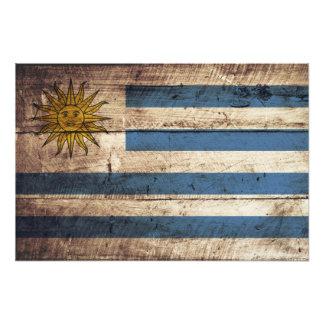 Uruguay Flag on Old Wood Grain Photograph