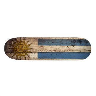 Uruguay Flag on Old Wood Grain Skate Board Decks