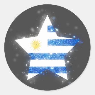 Uruguay Flag Star Shining Classic Round Sticker
