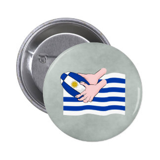 Uruguay Flag With Cartoon Rugby Ball Button