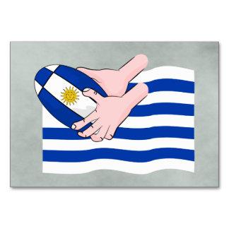 Uruguay Flag With Cartoon Rugby Ball Card