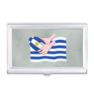 Uruguay Flag With Cartoon Rugby Ball Case For Business Cards