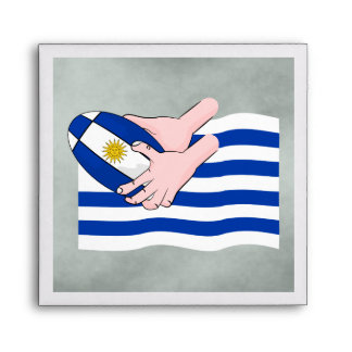 Uruguay Flag With Cartoon Rugby Ball Envelope