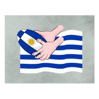 Uruguay Flag With Cartoon Rugby Ball Postcard