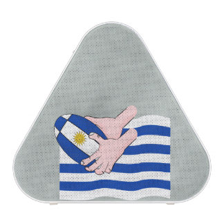 Uruguay Flag With Cartoon Rugby Ball Speaker
