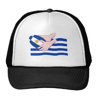 Uruguay Flag With Cartoon Rugby Ball Trucker Hat
