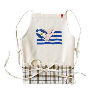 Uruguay Flag With Cartoon Rugby Ball Zazzle HEART Apron