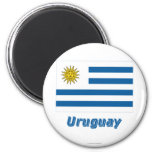 Uruguay Flag with Name 2 Inch Round Magnet