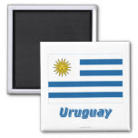Uruguay Flag with Name 2 Inch Square Magnet