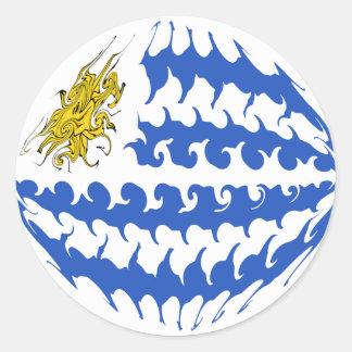Uruguay Gnarly Flag Classic Round Sticker