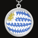 Uruguay Gnarly Flag Silver Plated Necklace