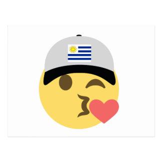 Uruguay Hat Kiss Emoji Postcard
