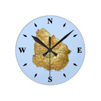 Uruguay Map Clock