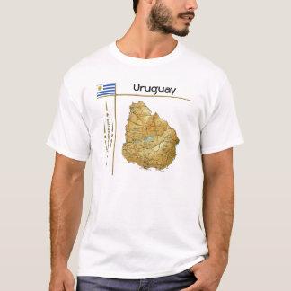 Uruguay Map + Flag + Title T-Shirt