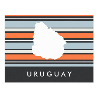 Uruguay Map: Modern Stripes Postcard