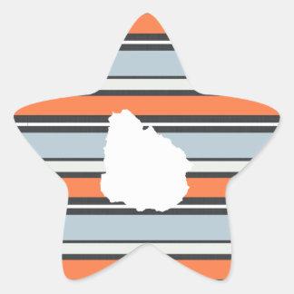 Uruguay Map: Modern Stripes Star Sticker