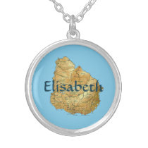 Uruguay Map   Name Necklace