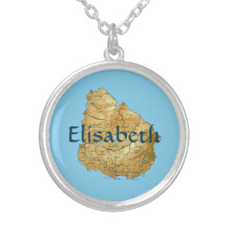 Uruguay Map + Name Necklace