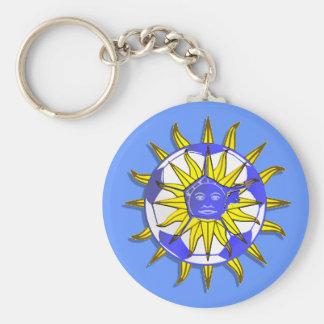 Uruguay new soccer sun fun Uruguayn fans gifts Basic Round Button Keychain