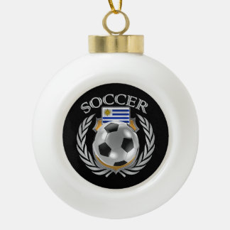 Uruguay Soccer 2016 Fan Gear Ceramic Ball Christmas Ornament