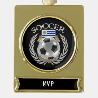 Uruguay Soccer 2016 Fan Gear Gold Plated Banner Ornament