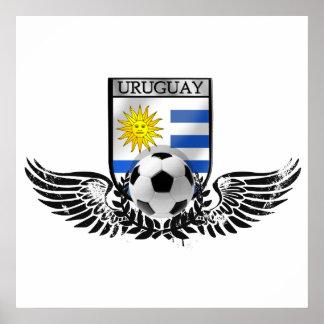 Uruguay soccer football emblem Uruguayan flag Poster