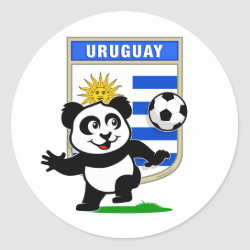 Round Sticker with Uruguay Football Panda design