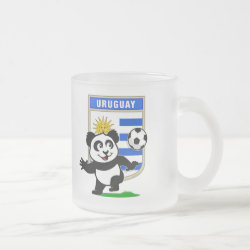 Frosted Glass Mug with Uruguay Football Panda design