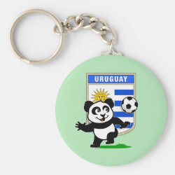 Basic Button Keychain with Uruguay Football Panda design
