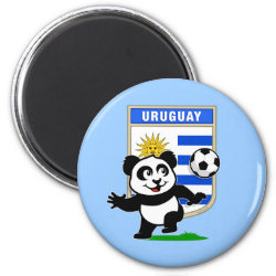 Round Magnet with Uruguay Football Panda design