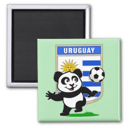 Square Magnet with Uruguay Football Panda design