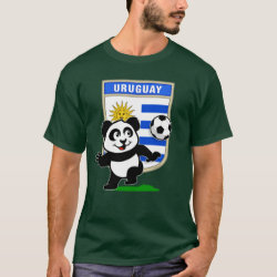 Men's Basic Dark T-Shirt with Uruguay Football Panda design