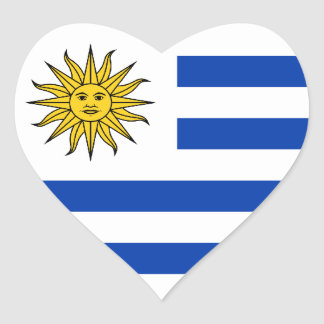 Uruguay/Uruguayan Heart Flag Heart Sticker