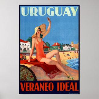 Uruguay Veraneo Ideal Vintage Travel Poster