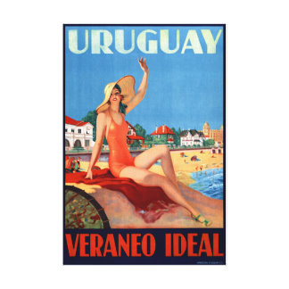 Uruguay Veraneo Ideal Vintage Travel Poster Canvas Print