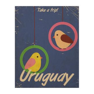 Uruguay vintage travel poster wood wall art