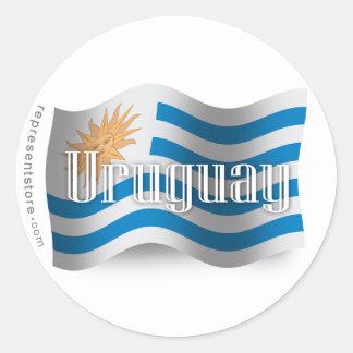 Uruguay Waving Flag Classic Round Sticker