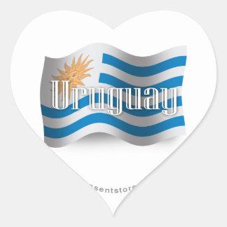 Uruguay Waving Flag Heart Sticker