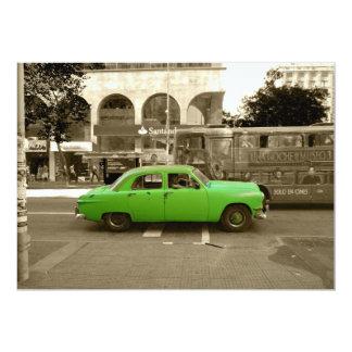 Uruguayan old green car card