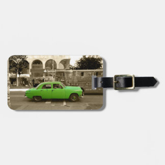 Uruguayan old green car luggage tag
