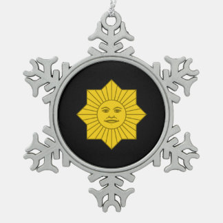 Uruguayan Sun of May Snowflake Pewter Christmas Ornament