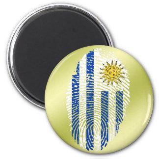 Uruguayan touch fingerprint flag 2 inch round magnet